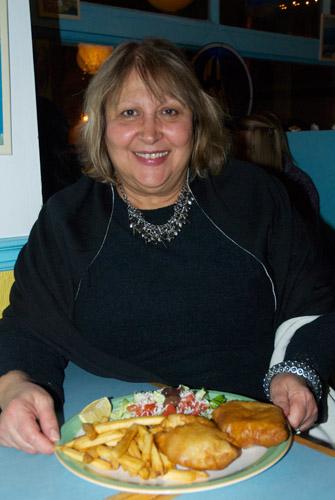 At Mykonos, Heidi Vamvalis serves up fish and chips, as well as Greek cuisine