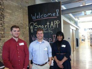 (Left to Right): Mark McGregor (graduate student), Dr. Jason Gilliland, Gabriela Heslop (Brescia student and SmartAPP volunteer)