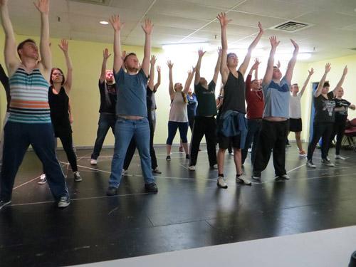 The ensemble in rehearsal for Jesus Christ Superstar