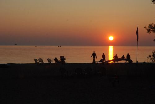Enjoying the Lake Huron sunset